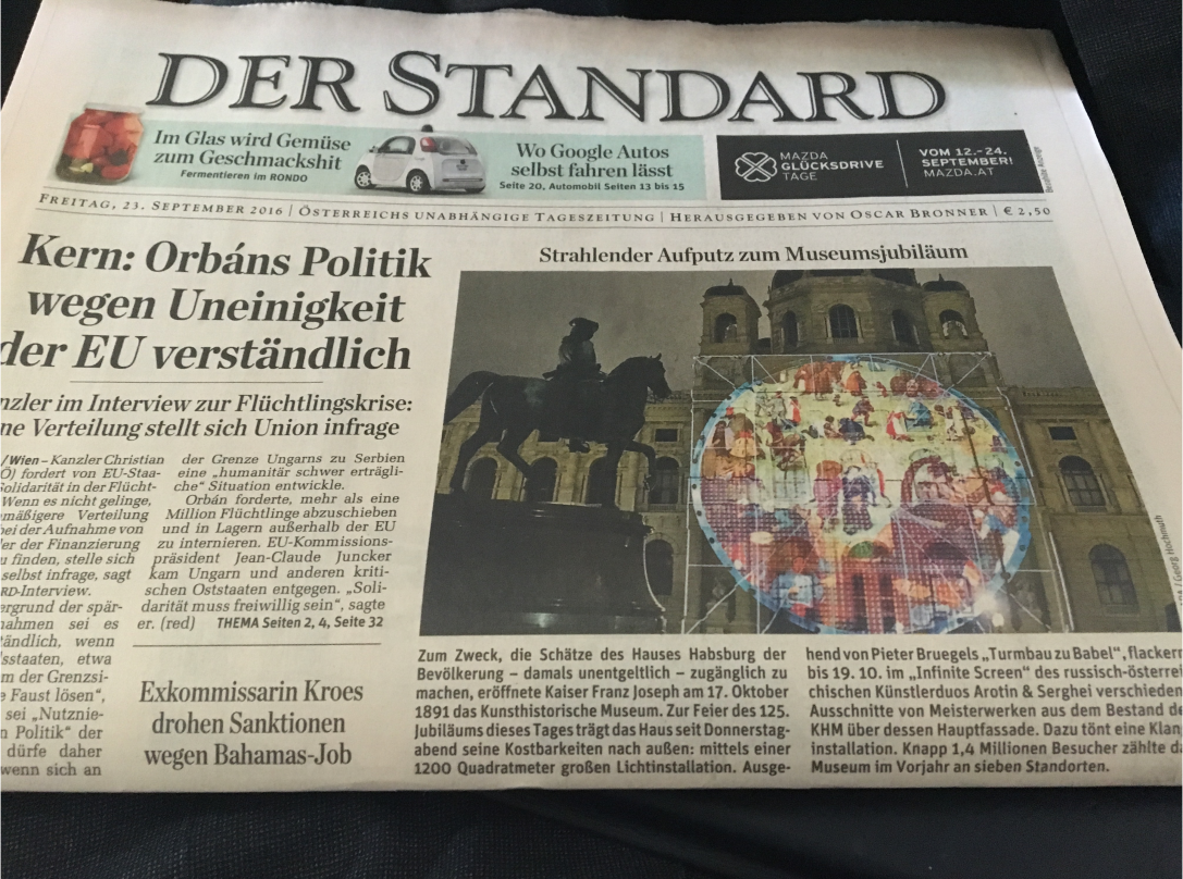 STANDARD title 23.9.2016 about Infinite Screen / The Babel Tower / 125 y Kunsthistorisches Museum Wien