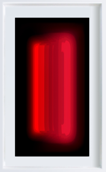 W_WHITESCREEN_5 2010-12 intermedial painting in artists light frame 156x96cm