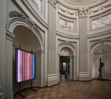 AROTIN & SERGHEI Flying Screen 2013 exhibition view at Palais Rasmuofsky 2018